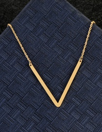 Fashion Gold Color V Letter Shape Decorated Necklace