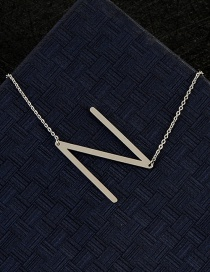 Fashion Silver Color N Letter Shape Decorated Necklace