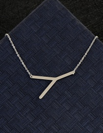 Fashion Silver Color Y Letter Shape Decorated Necklace
