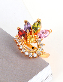 Fashion Multi-color Oval Shape Decorated Ring