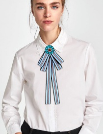 Fashion Blue Round Shape Decorated Bowknot Brooch