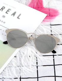 Fashion Silver Color Pure Color Decorated Sunglass