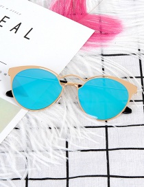 Fashion Blue Pure Color Decorated Sunglass