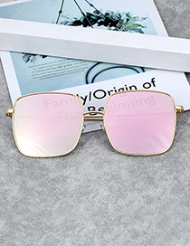 Fashion Pink Square Shape Decorated Sunglass