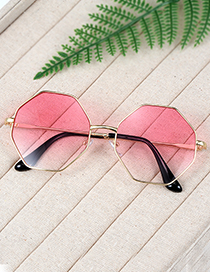 Fashion Plum Red Geometry Shape Decorated Sunglass