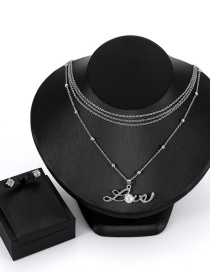 Fashion Silver Color Letter Shape Decorated Jewelry Set ( 3 Pcs )