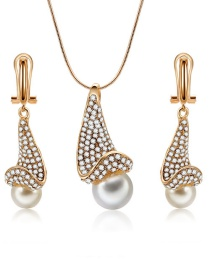 Fashion Gold Color Pure Color Decorated Jewelry Set (3 Pcs )