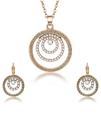 Fashion Gold Color Round Shape Decorated Jewelry Set (3 Pcs )