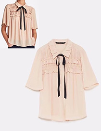 Fashion Beige Pure Color Decorated Shirt
