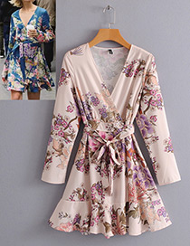 Fashion Beige Flower Pattern Decorated Dress