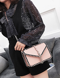Fashion Pink Long Tassel Decorated Shoulder Bag