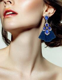 Fashion Sapphire Blue Water Drop Shape Decorated Earrings