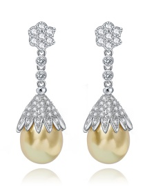 Fashion Yellow Water Drop Shape Decorated Earrings