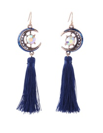 Fashion Navy Tassel Decorated Earrings
