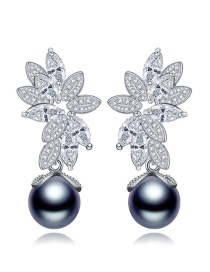 Fashion Gray+silver Color Flower Shape Decorated Earrings