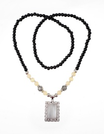 Fashion Black Square Shape Decorated Necklace