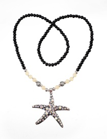 Fashion Black Star Shape Decorated Necklace