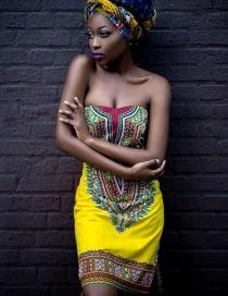 Fashion Yellow Leaf Pattern Decorated Dress