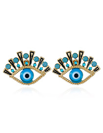 Elegant Gold Color+blue Eyes Shape Decorated Hollow Out Earrings