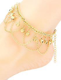 Fashion Gold Color Bells Pendant Decorated Pure Color Anklet