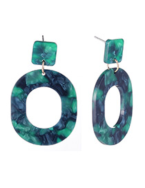 Fashion Green Round Shape Design Hollow Out Earrings