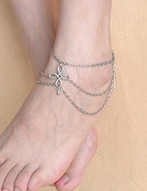 Fashion Silver Color Knot Shape Design Pure Color Anklet