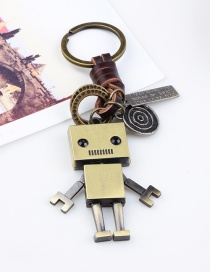 Fashion Gold Color Robot Shape Decorated Keychain