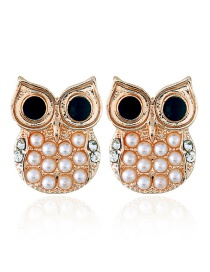Fashion Gold Color Owl Shape Decorated Earrings