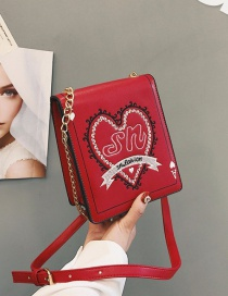 Fashion Red Heart Pattern Decorated Shoulder Bag