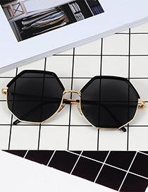 Fashion Black Polygon Shape Design Sunglasses