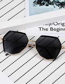 Fashion Black Pure Color Design Polygon Shape Sunglasses