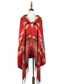 Fashion Claret Red Geometric Shape Pattern Decorated Thicken Scarf