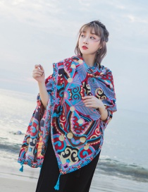 Fashion Blue+red Color Matching Decorated Beach Scarf