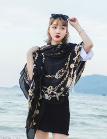 Fashion Black Chains Pattern Decorated Thin Scarf