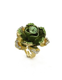 Fashion Green Flower Shape Decorated Ring