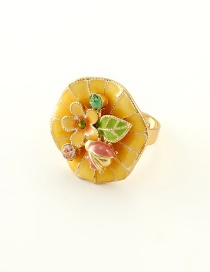 Fashion Yellow Flowers&diamond Decorated Ring