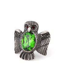 Fashion Green Owl Shape Decorated Ring