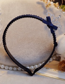 Lovely Navy Crown&bowknot Decorated Hair Hoop