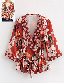 Fashion Red Dots Pattern Decorated V Neckline Blouse