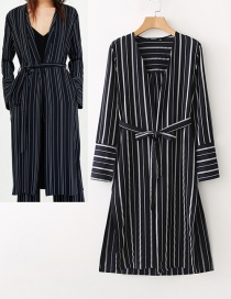 Fashion Black V Neckline Design Stripe Pattern Long Sleeves Dress