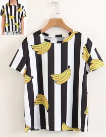 Fashion Black+white Banana Pattern Decorated T-shirt