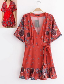 Fashion Red V Neckline Design Flower Pattern Dress
