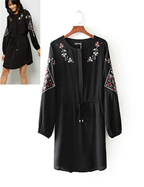 Fashion Black Embroidered Flower Decorated Long Dress