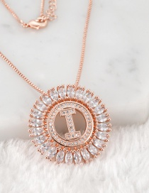 Fashion Rose Gold I Letter Shape Decorated Necklace