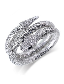Fashion Silver Color Snake Shape Design Opening Bracelet