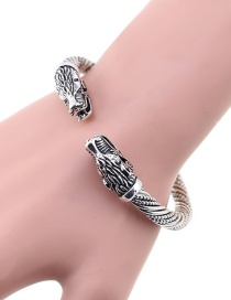 Fashion Silver Color Dragon Shape Design Opening Bracelet