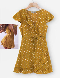 Fashion Yellow Spot Pattern Decorated Dress