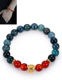 Fashion Red+navy Bead Decorated Bracelet