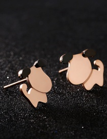 Fashion Rose Gold Dog Shape Decorated Earrings