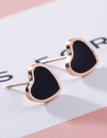 Fashion Rose Gold+black Heart Shape Decorated Earrings